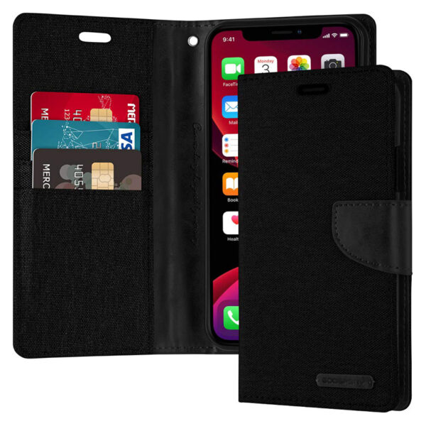 Flip Canvas Cover With Card Slots iPhone