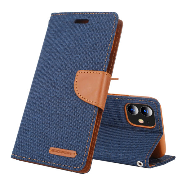 Flip Canvas Cover With Card Slots iPhone 11 Blue