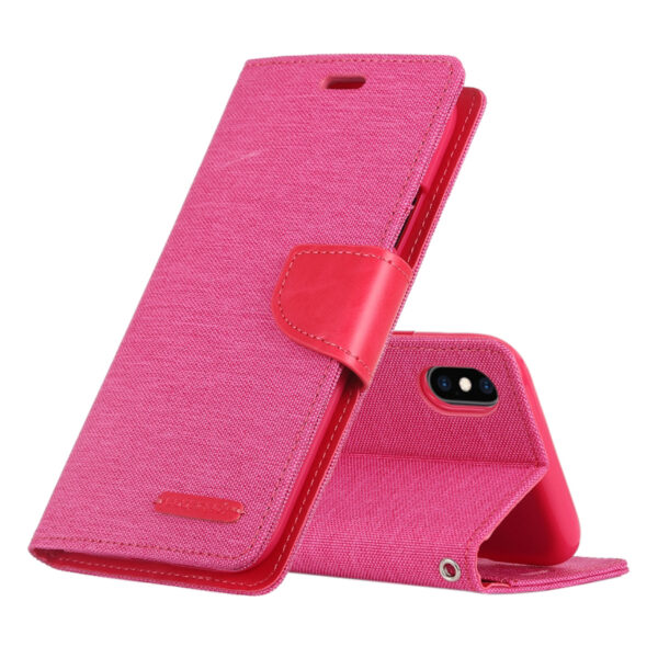 Flip Canvas Cover With Card Slots iPhone X & XS Pink