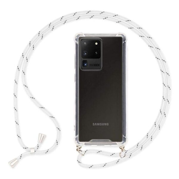 Cover with Neck Strap For Galaxy S20 Ultra White Cord