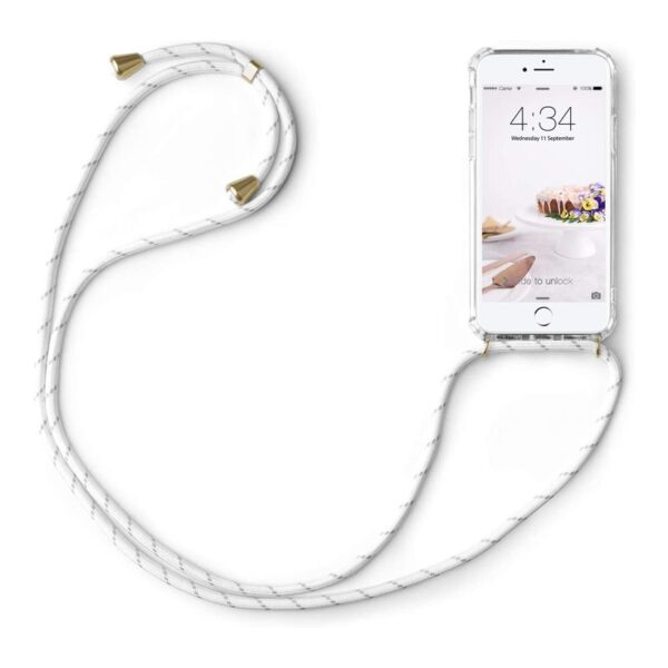 Cover with Neck Strap For iPhone SE 2020 / 8 / 7 White Cord