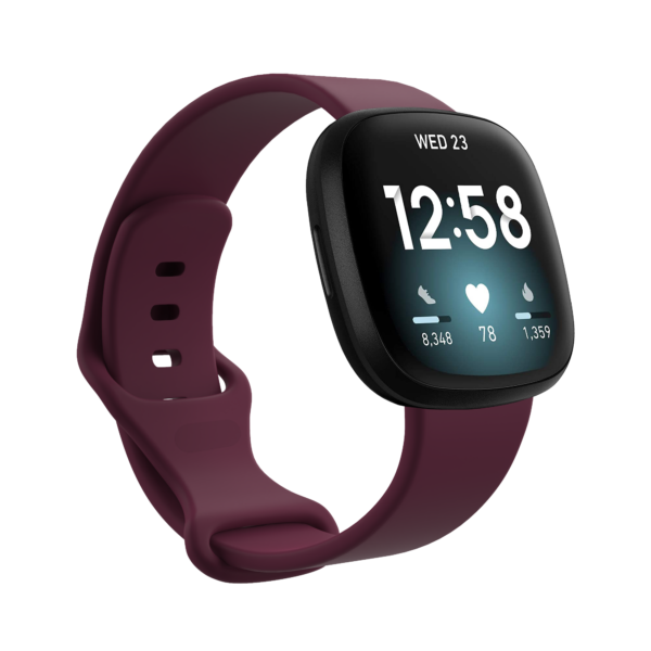 Fitbit Versa 3 & Sense Silicone Watch Strap Band Wine Red