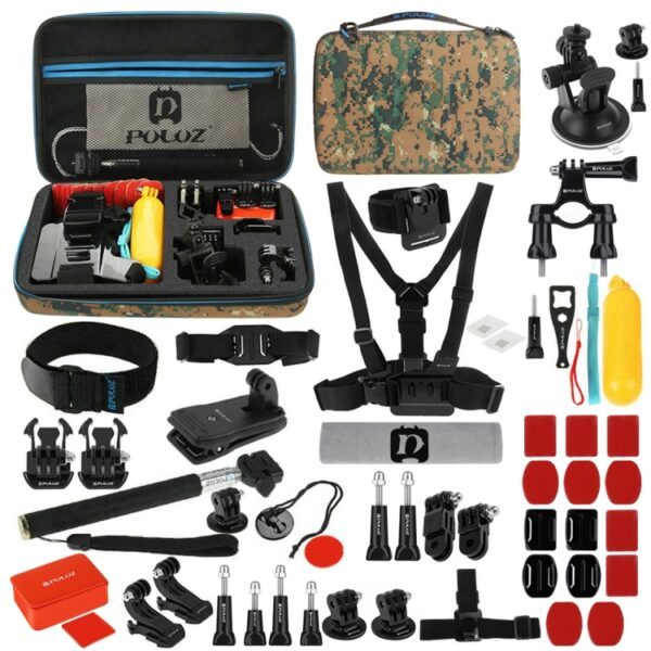 Puluz 53 in 1 Accesory and Mount Combo For Gopro with Camo Case