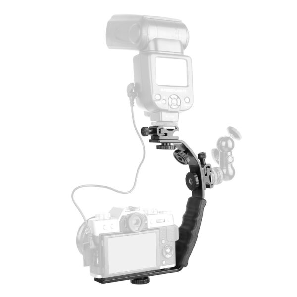 L Shape Double Hot Shoe Flash Bracket