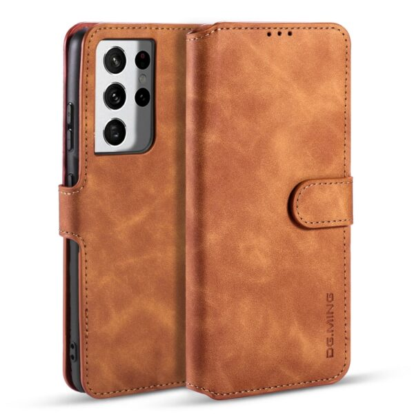 Card Slot Flip Cover Case Galaxy S21 Ultra Brown